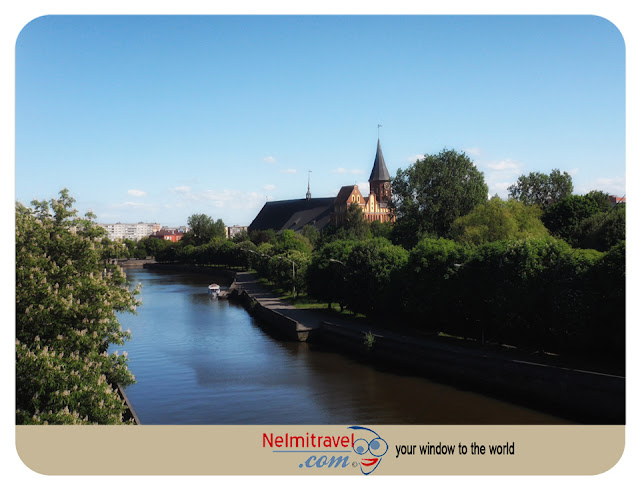 Cathedral in Kaliningrad and canals for river boat cruises