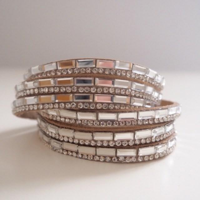 Tan suedette sparkly wrap bracelet with rectangular baguette diamantes