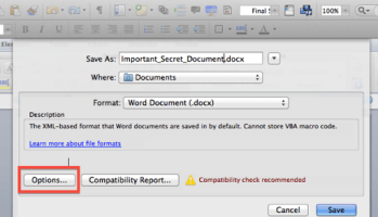 how do i password protect a word document on mac
