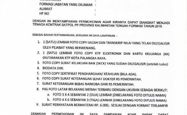 Contoh Surat Lamaran Kerja Untuk Satpol Pp Cute766
