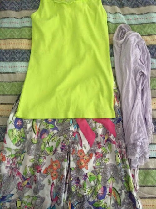 my freshly washed pyjamas - lime green singlet, floral pants, purple jacket