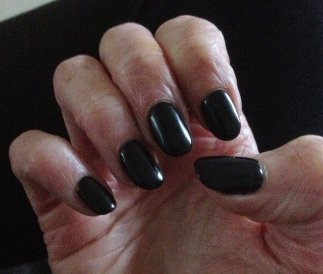 I Love My Shiny Black Shellac Nails For Fall Getting Into The Spirit Of Halloween Early