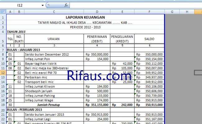 Contoh Laporan Keuangan Masjid Excel Contoh Pustaka Cute766