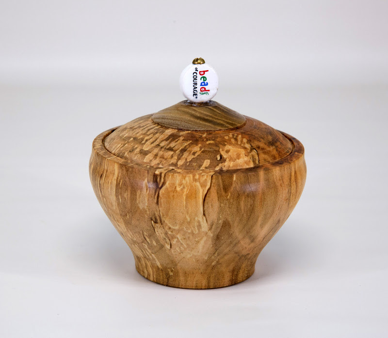 "Eliot Feldman 4"" x 4"" Beads of Courage box [spalted maple, bead]"