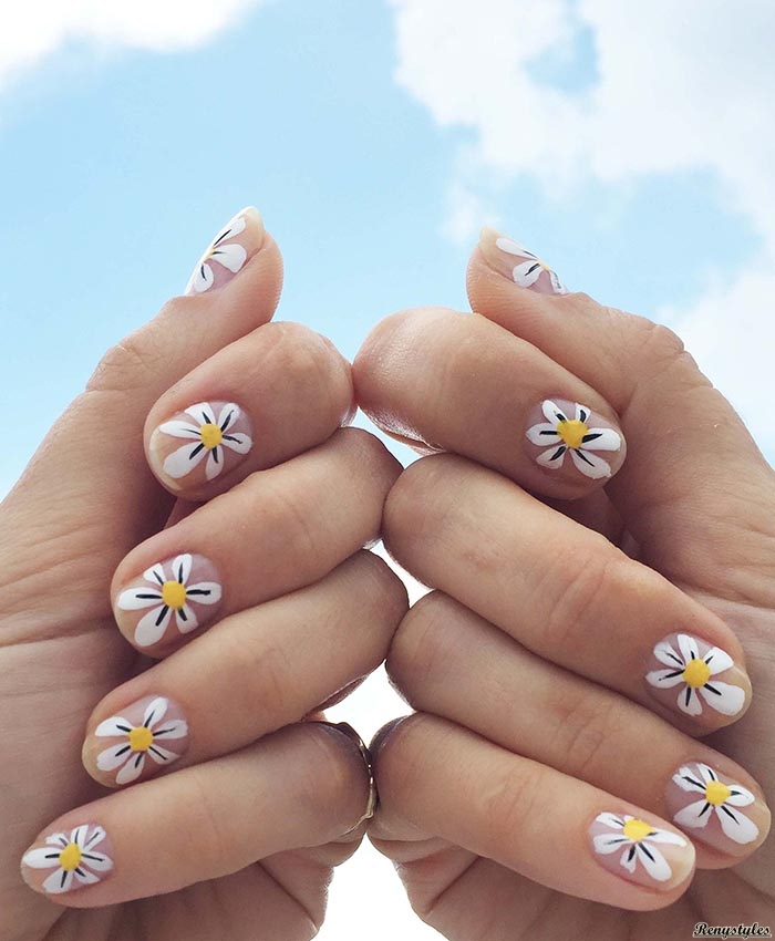 Best Daisy Nails Floral Nail Art Reny Styles