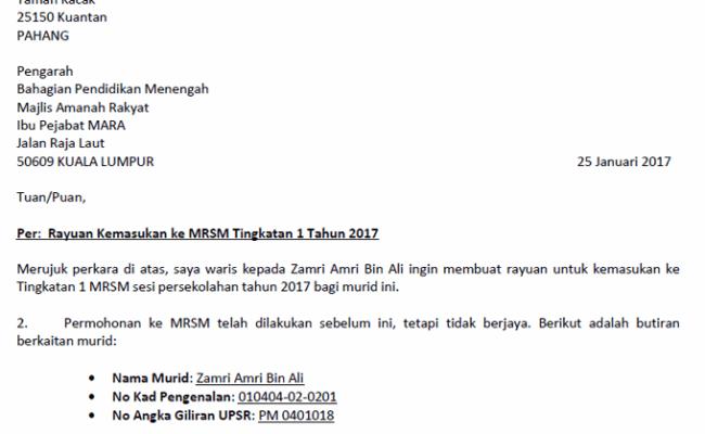 Contoh Surat Rayuan Mrsm Tingkatan 1 Kecemasan K Cute766