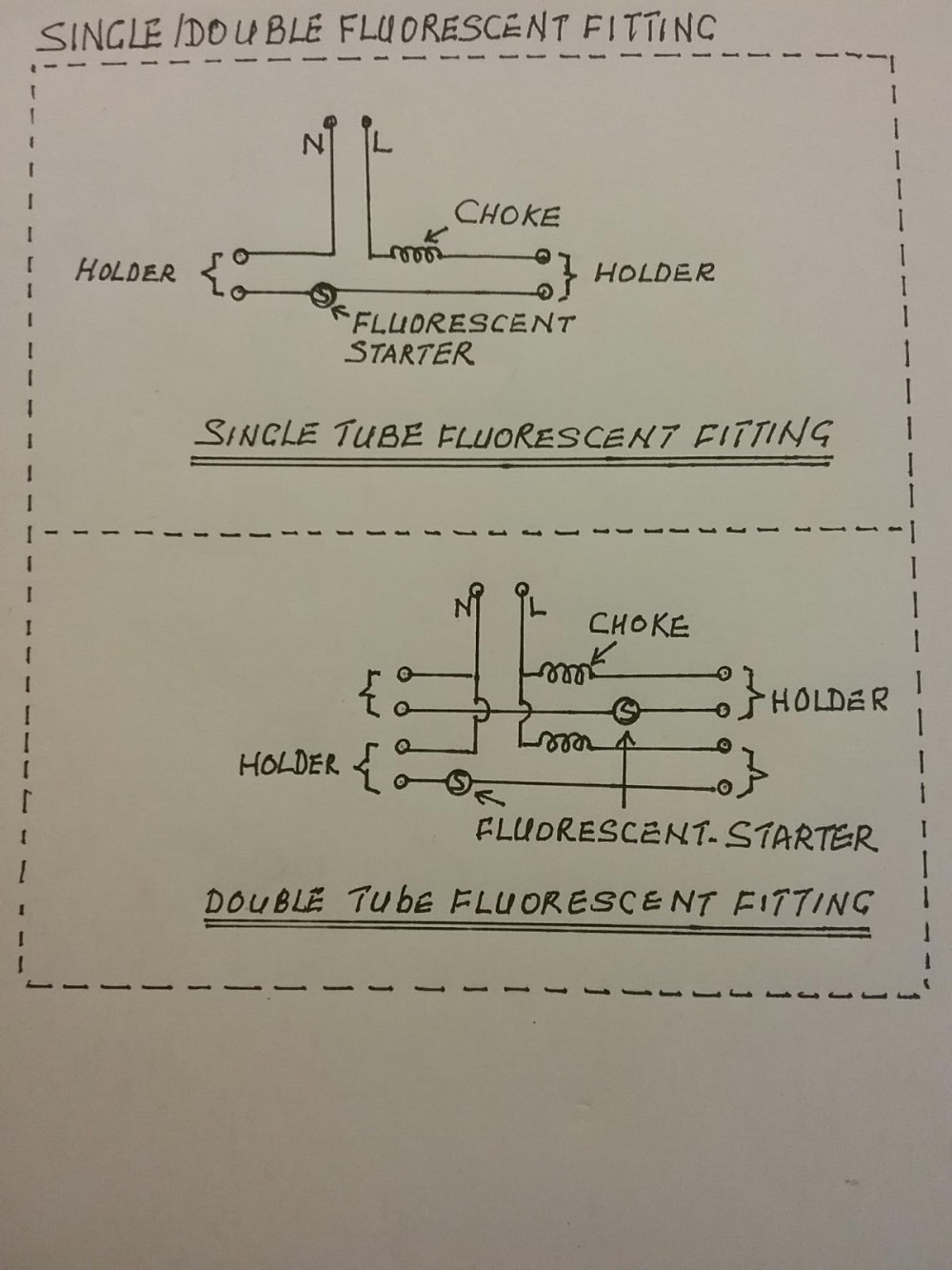 medium resolution of this is the single line diagram for c set with choke and fluorescent starter for fluorescent fitting