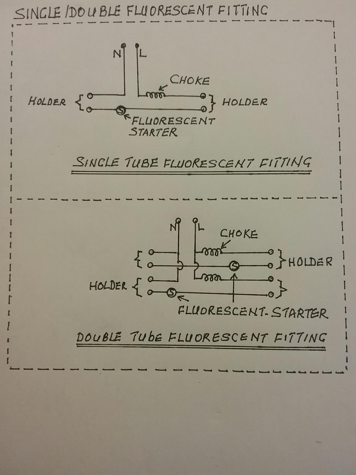 hight resolution of this is the single line diagram for c set with choke and fluorescent starter for fluorescent fitting