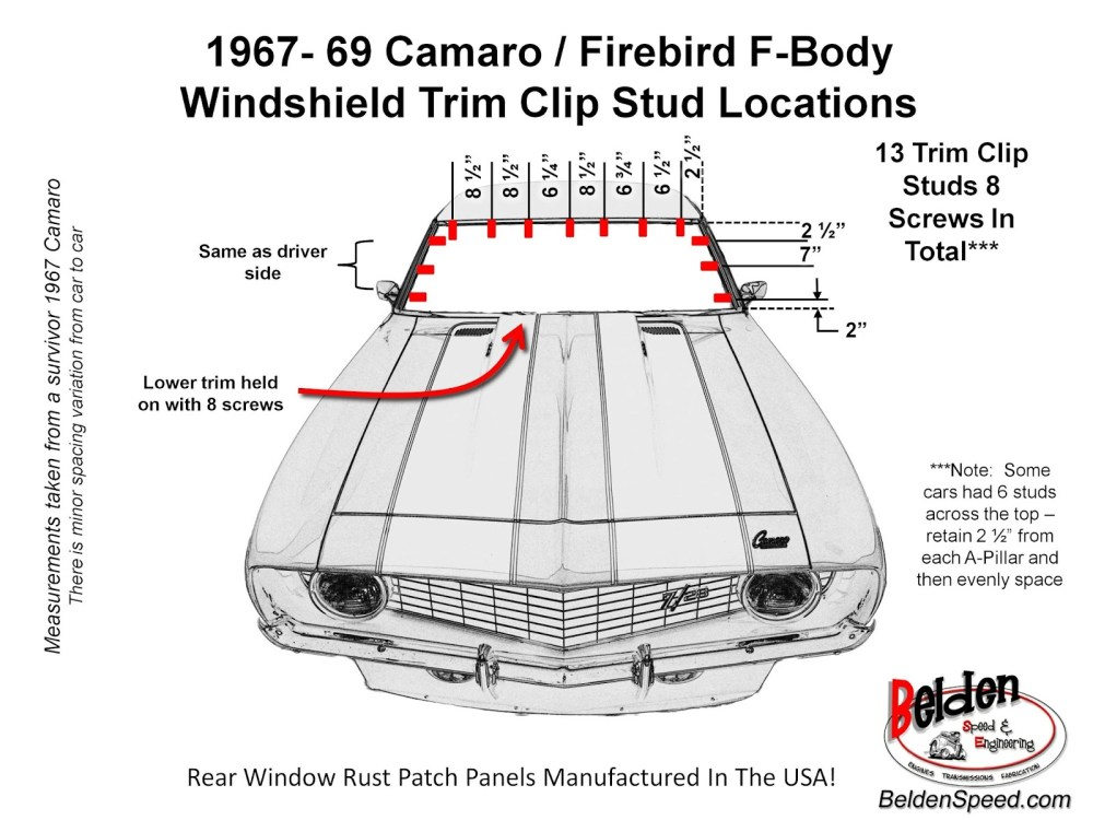 medium resolution of 1967 1969 camaro firebird f body windshield trim clip stud locations