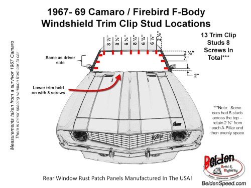 small resolution of 1967 1969 camaro firebird f body windshield trim clip stud locations