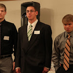 MWCA Scholarship recipients Brett Pfarr of LeSueur-Henderson, Bernard Floeder of Mounds View, and Adam Hammer of Osseo.