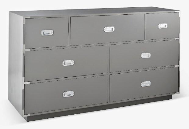 Skew view solid wood campaign dresser