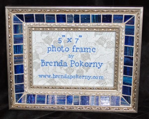 "Deep Blue & Pearls 5"" X 7"" Mosaic Frame Mof1422 - Beads Pieces"
