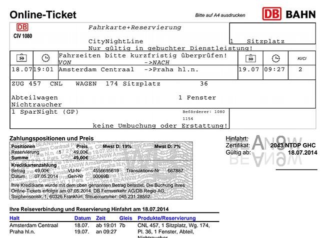 Amsterdam to Prague Train Ticket