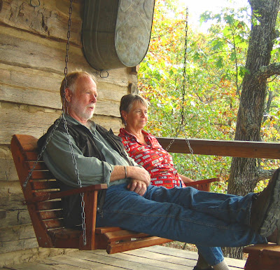 Relaxing on the porch at Phoebe's cabin