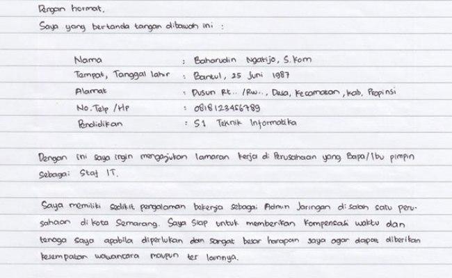 Daftar Riwayat Hidup Lamaran Kerja Tulis Tangan Cute766