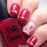 Red and White Heart Nail Art