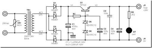 24 volt dc power supply circuit diagram schematic | Simple