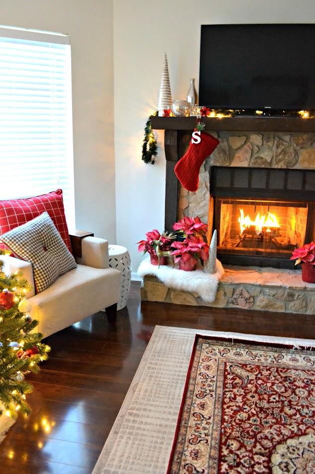 christmas mantel and fire