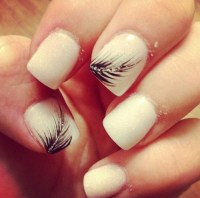 Cute Feather Nail Design for Short Nails | Fashionte