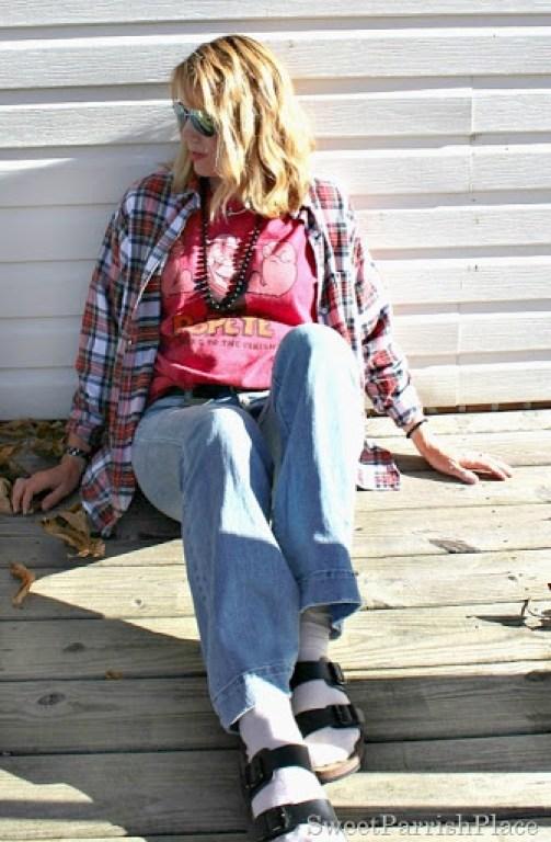 plaid flannel-flare-jeans-birkenstocks-1