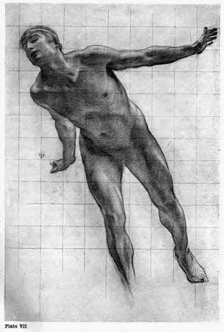 "Plate VII. STUDY FOR THE FIGURE OF APOLLO IN THE PICTURE ""APOLLO AND DAPHNE"" In natural red chalk rubbed with finger; the high lights are picked out with rubber."