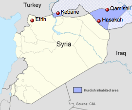 Syria: Kurdish inhabited areas are shaded in blue for areas inside Syria and light blue for areas outside the country.