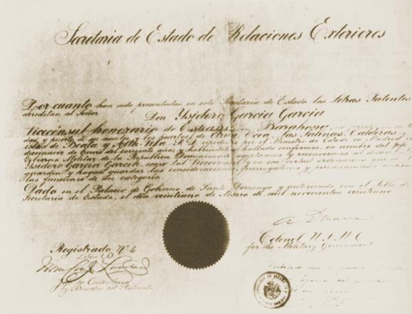 Nombramiento de Vicecónsul Honorario de España del garafiano Isidoro Gracia, padre de María Montez.