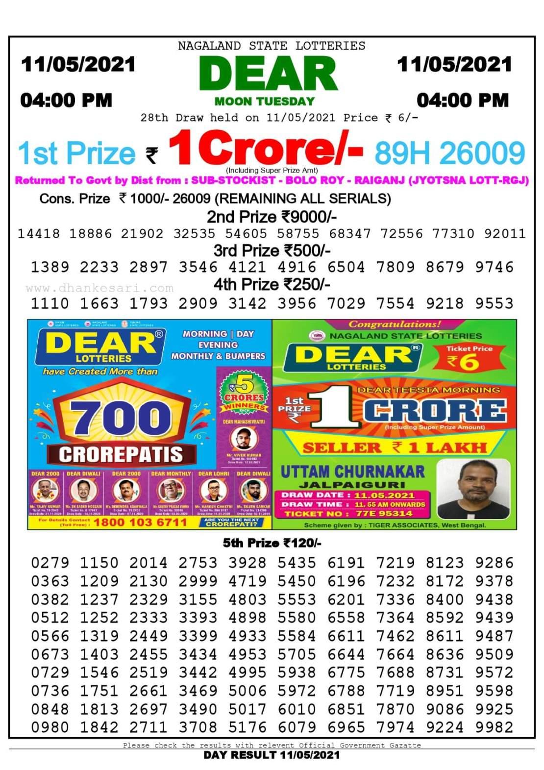 Dhankesari Lottery Sambad Result Today 4:00 PM 11.5.2021