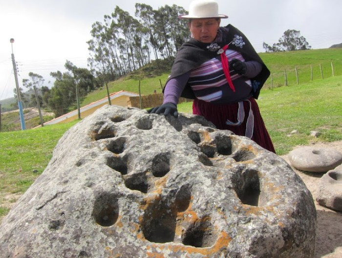 Ingapirca rock with holes, Ecuador