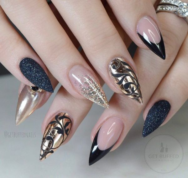 Cute Black and Gold Nail Designs for Women , Fashion 2D