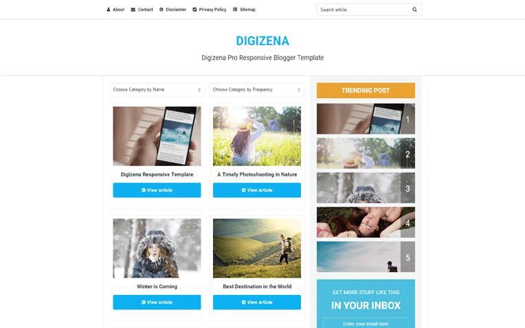 DigiZena - Latest Version - Premium Blogger Template Free Download.