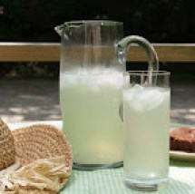 Lemonade pitcher and glass