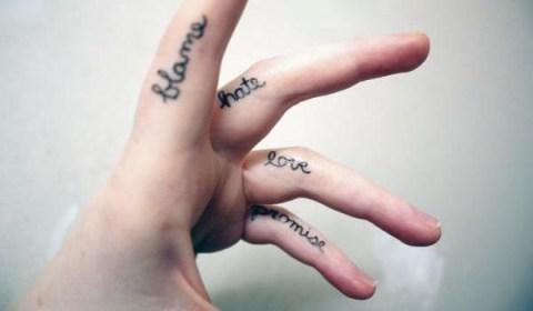 finger tattoo quotes