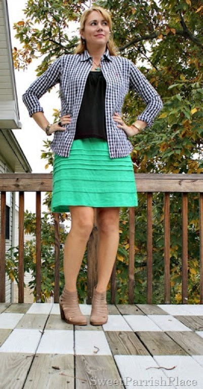 green-skirt-black-top-plaid-button-down-booties-1