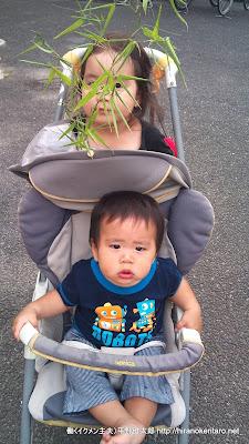 ささの葉をもった次女とベビーカーに乗る次男