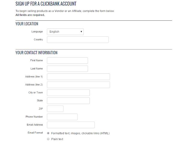 Form mẫu đăng ký dành cho clickbank