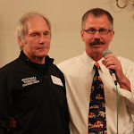 Lifetime Achievement Award recipient Jeff Lamphere of Minnetonka and MWCA Banquet Co-MC Bill Schmidt.