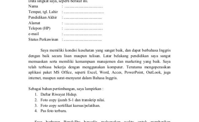 Contoh Surat Lamaran Kerja Di Pabrik Garmen Berbagi Cute766