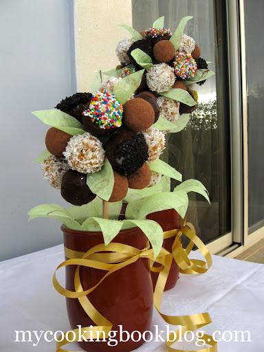 Как се прави саксия с декоративно дърво оформено от Трюфели (бонбони)