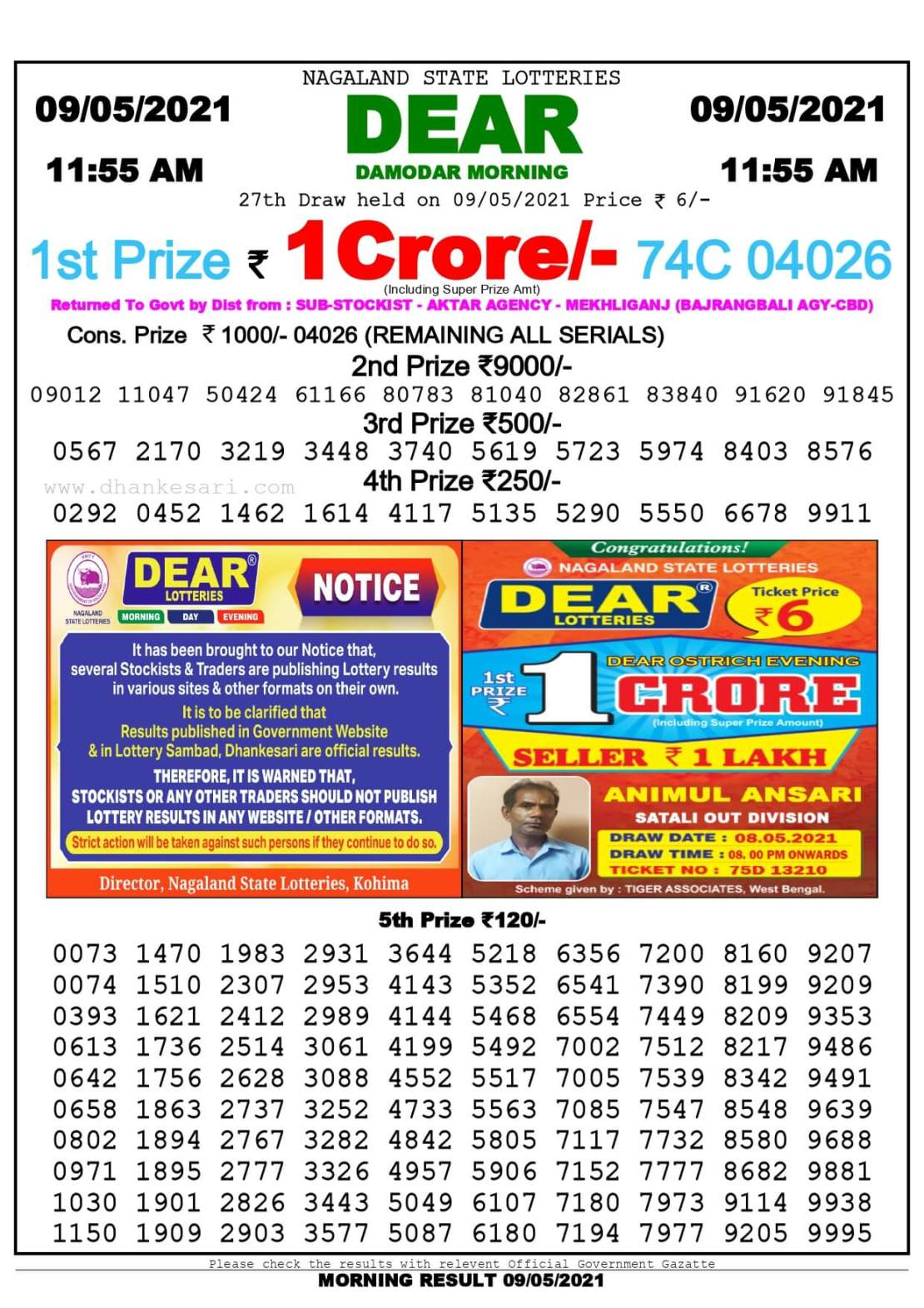 Dhankesari Lottery Sambad Result Today 11:55 AM 9.5.2021