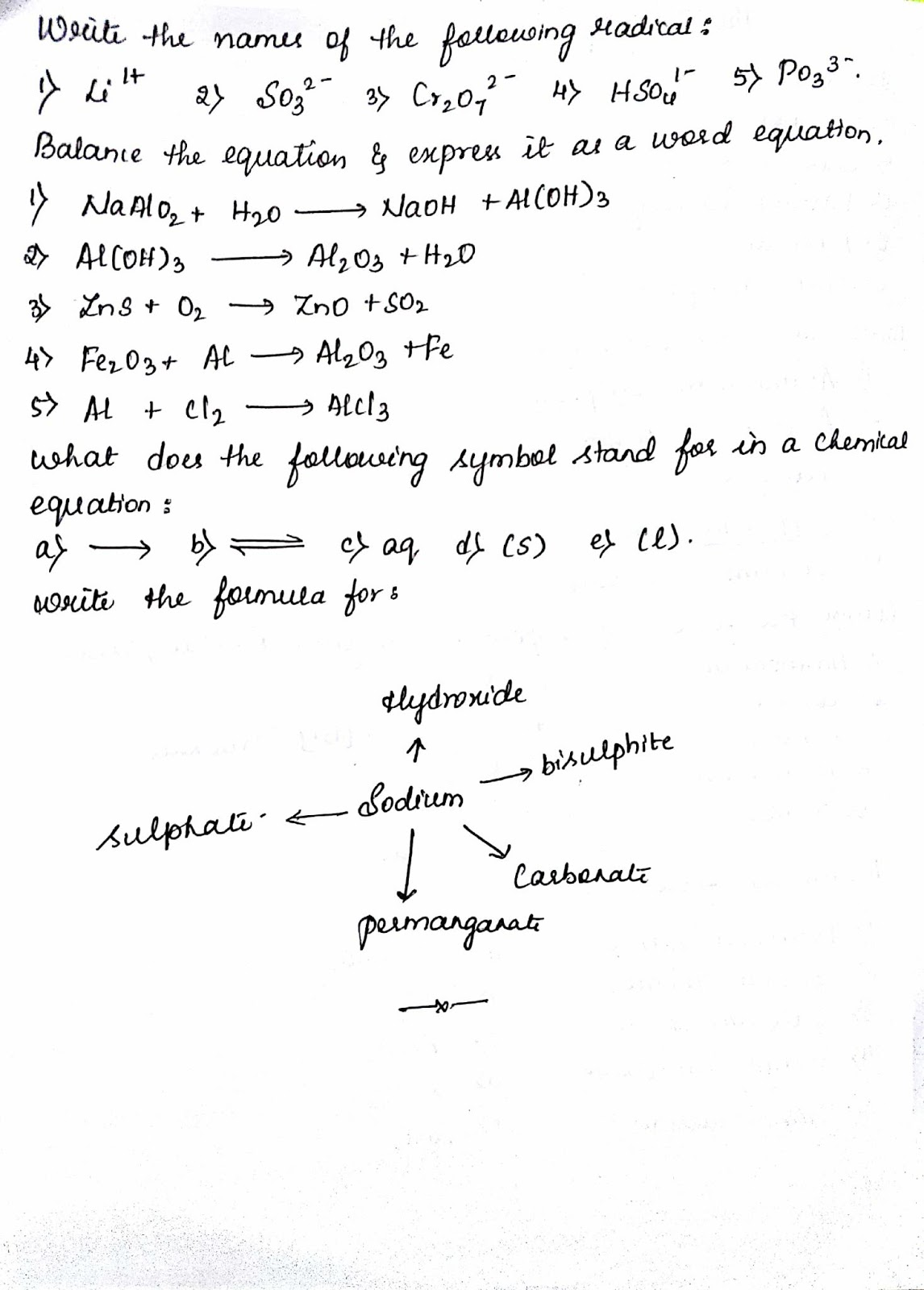 hight resolution of Siri's corner: ICSE GRADE 9 language of chemistry worksheet