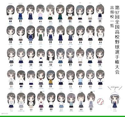 今回の甲子園出場校49校+1校の女子の制服を全部並べてみました!