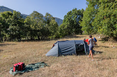 Camping in the forests of Greece, where we probably had a bear visit our tent