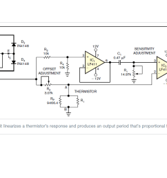 circuit diagram for linearization of thermistor output [ 1366 x 768 Pixel ]