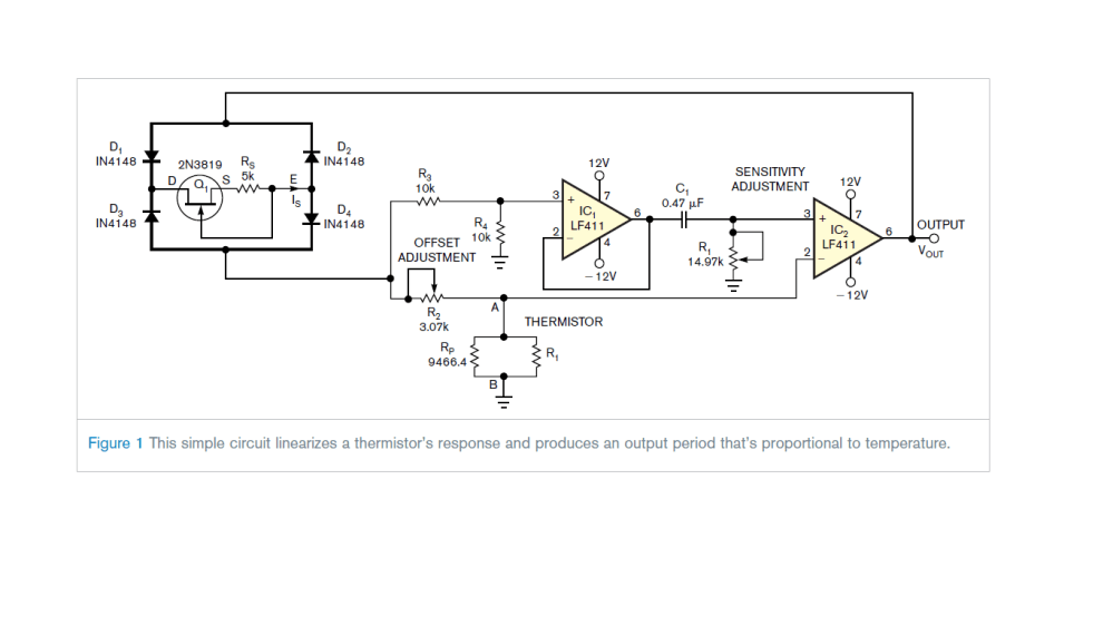 medium resolution of circuit diagram for linearization of thermistor output