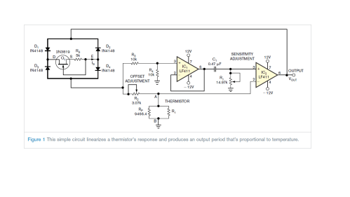 small resolution of circuit diagram for linearization of thermistor output
