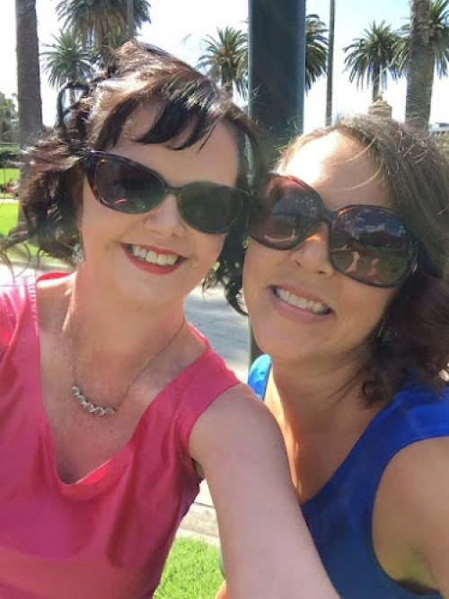 Camille and Cassie selfie on Carly Findlay's wedding day
