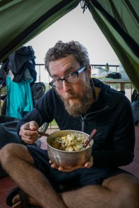 Morning after the storm chowing down on  porridge in the tent