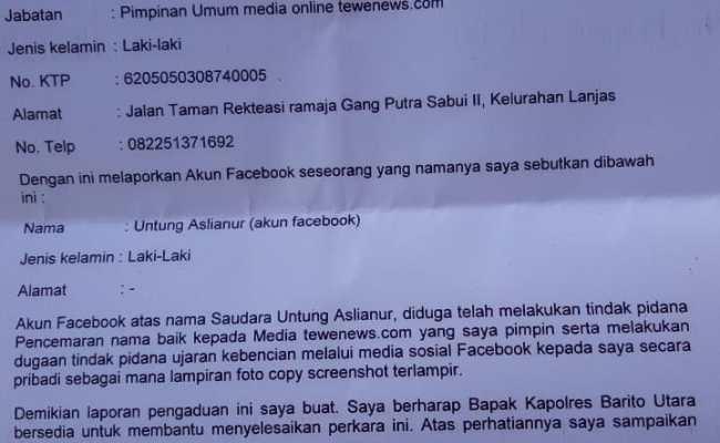 Contoh Surat Laporan Polisi Tentang Pencemaran Nama Baik Seputar Laporan Cute766